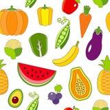 Άνευ ραφής σχέδιο με τα περιγραμμένα φρούτα και λαχανικά Στοκ Εικόνες