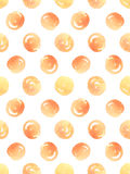Άνευ ραφής σχέδιο με τα πορτοκαλιά σημεία Πόλκα watercolor επίσης corel σύρετε το διάνυσμα απεικόνισης Στοκ εικόνες με δικαίωμα ελεύθερης χρήσης