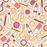 Άνευ ραφής σχέδιο με τα προϊόντα makeup στα εκλεκτής ποιότητας χρώματα Στοκ εικόνες με δικαίωμα ελεύθερης χρήσης