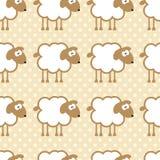Άνευ ραφής σχέδιο με τα πρόβατα στο θερμό διαστιγμένο υπόβαθρο Απεικόνιση αποθεμάτων