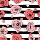 Άνευ ραφής σχέδιο με τα ρόδινα τριαντάφυλλα στις μαύρες λουρίδες επίσης corel σύρετε το διάνυσμα απεικόνισης Στοκ εικόνα με δικαίωμα ελεύθερης χρήσης