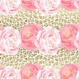 Άνευ ραφής σχέδιο με τα ρόδινα τριαντάφυλλα χρώματος κομψότητας Στοκ Εικόνες