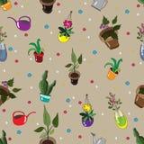 Άνευ ραφής σχέδιο με τα σπιτικά λουλούδια Στοκ Φωτογραφία