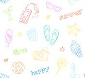 Άνευ ραφής σχέδιο με τα στοιχεία θερινών δερματοστιξιών Ύφος Hipster Διακόσμηση για υφαντικό και το τύλιγμα Διανυσματική ανασκόπη ελεύθερη απεικόνιση δικαιώματος