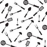 Άνευ ραφής σχέδιο με τα στοιχεία κουζινών. Στοκ Εικόνα