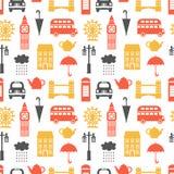 Άνευ ραφής σχέδιο με τα σύμβολα του Λονδίνου Στοκ εικόνα με δικαίωμα ελεύθερης χρήσης