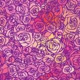 Άνευ ραφής σχέδιο με τα τριαντάφυλλα λουλουδιών, διανυσματική floral απεικόνιση Στοκ εικόνα με δικαίωμα ελεύθερης χρήσης