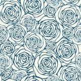 Άνευ ραφής σχέδιο με τα τριαντάφυλλα περιλήψεων Στοκ Φωτογραφία