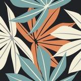 Άνευ ραφής σχέδιο με τα τροπικά ζωηρόχρωμα φύλλα στο μπλε υπόβαθρο Στοκ εικόνα με δικαίωμα ελεύθερης χρήσης