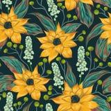 Άνευ ραφής σχέδιο με τα τροπικά λουλούδια, τα μούρα και τα φύλλα Εξωτικό floral βοτανικό υπόβαθρο απεικόνιση αποθεμάτων