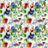 Άνευ ραφής σχέδιο με τα τυποποιημένα λουλούδια άνοιξη Στοκ Φωτογραφία