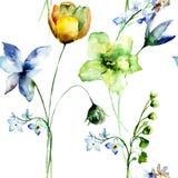 Άνευ ραφής σχέδιο με τα τυποποιημένα λουλούδια Στοκ Εικόνα