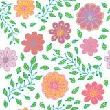 Άνευ ραφής σχέδιο με τα τυποποιημένα συρμένα χέρι λουλούδια και τα φύλλα Στοκ Φωτογραφία
