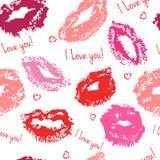 Άνευ ραφής σχέδιο με τα φιλιά Στοκ Εικόνες