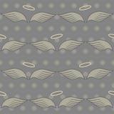 Άνευ ραφής σχέδιο με τα φτερά και το φωτοστέφανο Στοκ Φωτογραφίες