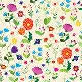 Άνευ ραφής σχέδιο με τα φωτεινά πολύχρωμα λουλούδια Στοκ εικόνα με δικαίωμα ελεύθερης χρήσης