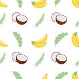 Άνευ ραφής σχέδιο με τα φύλλα, τις μπανάνες και τις καρύδες μπανανών επίσης corel σύρετε το διάνυσμα απεικόνισης Εύχρηστος για το Στοκ φωτογραφία με δικαίωμα ελεύθερης χρήσης