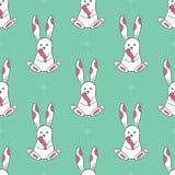 Άνευ ραφής σχέδιο με τα χαριτωμένα άσπρα κουνέλια Στοκ Εικόνες