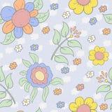 Άνευ ραφής σχέδιο με τα χαριτωμένα πολύχρωμα λουλούδια Διανυσματική ανασκόπηση διανυσματική απεικόνιση