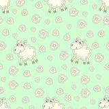 Άνευ ραφής σχέδιο με τα χαριτωμένα πρόβατα και τα λουλούδια Στοκ Εικόνες
