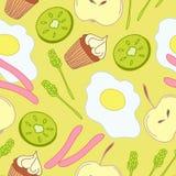 Άνευ ραφής σχέδιο με τα χαριτωμένα τρόφιμα προγευμάτων διανυσματική απεικόνιση