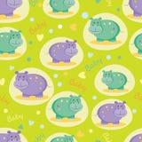 Άνευ ραφής σχέδιο με τα χαριτωμένα hippos Στοκ Φωτογραφίες
