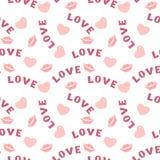 Άνευ ραφής σχέδιο με τα χείλια καρδιών και αγάπη επιγραφής στο λευκό Στοκ Εικόνα