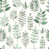 Άνευ ραφής σχέδιο με τα χορτάρια και τα λουλούδια doodle Στοκ Εικόνες