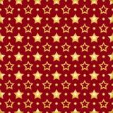 Άνευ ραφής σχέδιο με τα χρυσά αστέρια σε ένα κόκκινο υπόβαθρο διανυσματική απεικόνιση