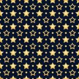 Άνευ ραφής σχέδιο με τα χρυσά αστέρια σε ένα σκούρο μπλε υπόβαθρο απεικόνιση αποθεμάτων