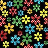 Άνευ ραφής σχέδιο με τα χρωματισμένα διαστιγμένα λουλούδια απεικόνιση αποθεμάτων