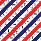 Άνευ ραφής σχέδιο με τα λωρίδες χρώματος σημαδιών barbershop Στοκ Φωτογραφία