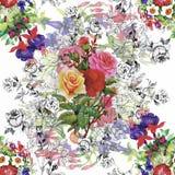 Άνευ ραφής σχέδιο με τα όμορφα λουλούδια, ζωγραφική Watercolor διανυσματική απεικόνιση