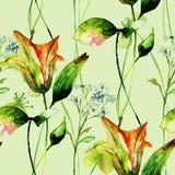 Άνευ ραφής σχέδιο με τα όμορφα λουλούδια κρίνων Στοκ Φωτογραφίες