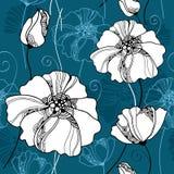 Άνευ ραφής σχέδιο με τα όμορφα λουλούδια σε ένα σκοτεινό υπόβαθρο Στοκ Εικόνες