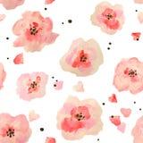 Άνευ ραφής σχέδιο με τα όμορφα λουλούδια watercolor στο άσπρο υπόβαθρο, διανυσματική απεικόνιση Στοκ φωτογραφίες με δικαίωμα ελεύθερης χρήσης