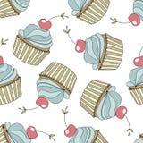 Άνευ ραφής σχέδιο με τα cupcakes, κεράσι διάνυσμα Στοκ Φωτογραφίες
