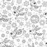 Άνευ ραφής σχέδιο με τα deers Χριστουγέννων στην περίληψη ελεύθερη απεικόνιση δικαιώματος