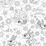 Άνευ ραφής σχέδιο με τα deers Χριστουγέννων στην περίληψη απεικόνιση αποθεμάτων