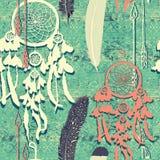 Άνευ ραφής σχέδιο με τα dreamcatchers συρμένο διάνυσμα χεριών Στοκ Φωτογραφίες
