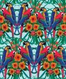 Άνευ ραφής σχέδιο με τα macaws, τα φύλλα φοινικών και τα λουλούδια Στοκ φωτογραφίες με δικαίωμα ελεύθερης χρήσης