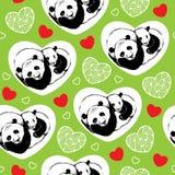 Άνευ ραφής σχέδιο με τα pandas και τις καρδιές ύπνου Στοκ Φωτογραφίες