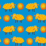 Άνευ ραφής σχέδιο με τα sheeps και το μαλλί Στοκ εικόνα με δικαίωμα ελεύθερης χρήσης