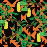 Άνευ ραφής σχέδιο με τα toucans και την εθνική διακόσμηση Στοκ Εικόνα