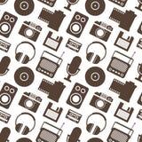 Άνευ ραφής σχέδιο με την αναδρομική τεχνολογία MEDIA Στοκ φωτογραφία με δικαίωμα ελεύθερης χρήσης