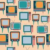 Άνευ ραφής σχέδιο με την αναδρομική TV Στοκ εικόνα με δικαίωμα ελεύθερης χρήσης