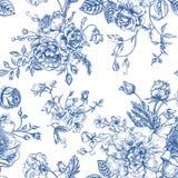 Άνευ ραφής σχέδιο με την ανθοδέσμη των λουλουδιών Στοκ Εικόνες