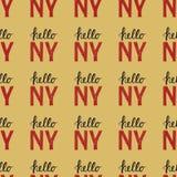 Άνευ ραφής σχέδιο με την εκλεκτής ποιότητας Νέα Υόρκη Νέα Υόρκη αποσπάσματος γειά σου Στοκ Φωτογραφίες