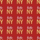 Άνευ ραφής σχέδιο με την εκλεκτής ποιότητας Νέα Υόρκη Νέα Υόρκη αποσπάσματος γειά σου Στοκ φωτογραφία με δικαίωμα ελεύθερης χρήσης