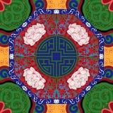 Άνευ ραφής σχέδιο με την κινεζική διακόσμηση peony Στοκ Εικόνες